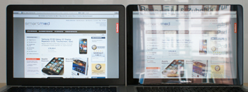 "MacBook Pro 13"" Unibody Links: mit mattem Display, Rechts: Mit original Bildschirm"