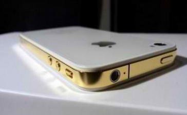 Apple iPhone 4S Weiß mit goldenem Midframe