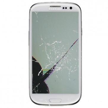 Samsung i9300 Galaxy S3 mit gesprungenem Displayglas und defektem AMOLED